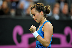November 10, 2018 - Prague, Czech Republic - Barbora Strycova of the Czech Republic celebrates after winning a point during the 2018 Fed Cup Final between the Czech Republic and the United States of America in Prague in the Czech Republic. (Credit Image: © Slavek Ruta/ZUMA Wire)