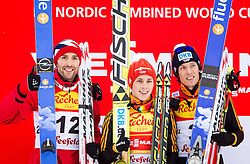 17.01.2014, Casino Arena, Seefeld, AUT, FIS Nordische Kombination, Seefeld Triple, Podium, im Bild vl. Magnus Moan (NOR), Sieger Eric Frenzel (GER) und dritter Tino Edelmann (GER) // fl. second placed Magnus Moan (NOR), Winner Eric Frenzel (GER) and third placed Tino Edelmann (GER) during Winner Award Ceremony at FIS Nordic Combined World Cup Triple at the Casino Arena in Seefeld, Austria on 2014/01/17. EXPA Pictures © <br /> 2014, PhotoCredit: EXPA/ JFK