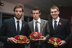 CARDIFF, WALES - Wednesday, November 11, 2009: Wales' Joe Ledley, Gareth Bale and Sam Vokes receive their international caps during the Football Association of Wales Player of the Year Awards hosted by Brains SA at the Cardiff City Stadium. (Pic by David Rawcliffe/Propaganda)