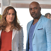 "ROSEWOOD: Pictured L-R: Jaina Lee Ortiz and Morris Chestnut in the ""Boatopsy & Booty"" episode of ROSEWOOD airing Thursday, Oct. 13 (8:00-8:59 PM ET/PT) on FOX. ©2016 Fox Broadcasting Co. CR: Lisa Rose/FOX"