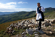 Stephanos Vasioris next to a heard of sheep on the top of the mountain above Vovousa village. He often goes there to buy freshly collected milk from the local shepherds. He is using it to create feta cheese for his family and the restaurant he owns.