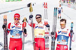 03.03.2019, Seefeld, AUT, FIS Weltmeisterschaften Ski Nordisch, Seefeld 2019, Langlauf, Herren, 50 km Massenstart, Siegerehrung, im Bild Silbermedaillengewinner Alexander Bolschunow (RUS), Goldmedaillengewinner und Weltmeister Hans Christer Holund (NOR), Bronzemedaillengewinner Sjur Roethe (NOR) // Silver medalist Alexander Bolshunov of Russia Gold medalist and world champion Hans Christer Holund of Norway Bonze medalist Sjur Roethe of Norway during the winner Ceremony for the men's cross country 50 km mass start competition of FIS Nordic Ski World Championships 2019. Seefeld, Austria on 2019/03/03. EXPA Pictures © 2019, PhotoCredit: EXPA/ JFK