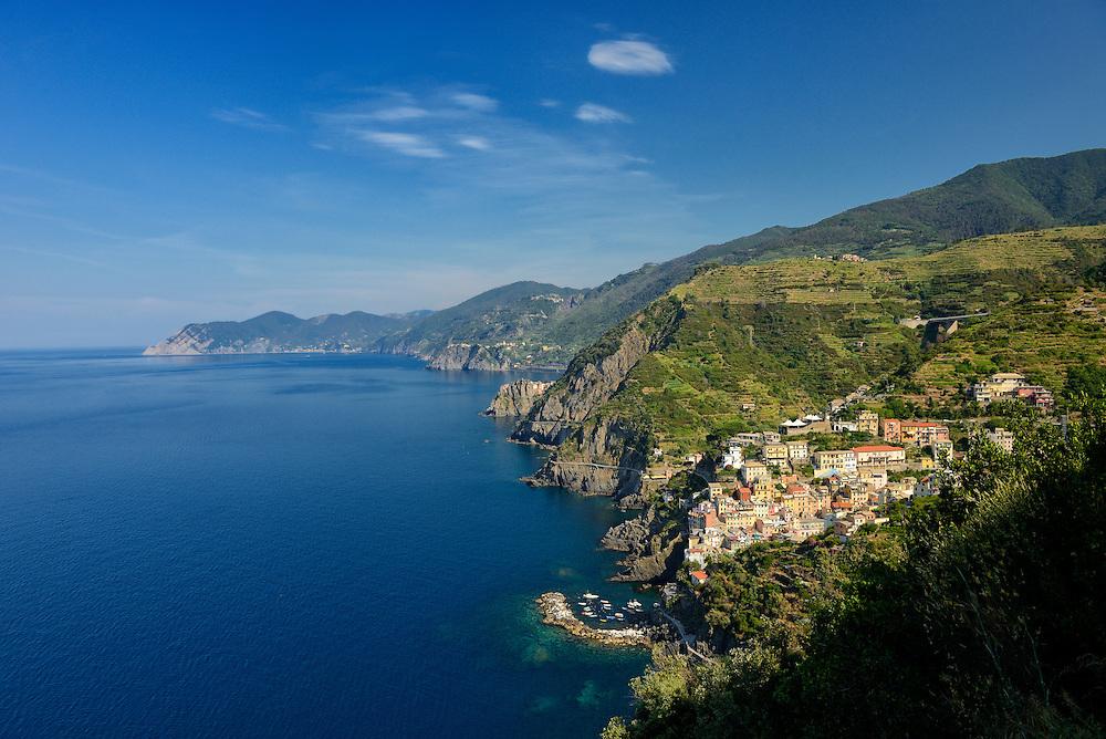 Aerial view of Riomaggiore and coastline, Cinque Terre, Liguria, Italian Riviera, Italy, Europe