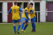 Hollands and Blair midfielder Brett Ince (centre) celebrates his goal during the Southern Counties East match between AFC Croydon Athletic and Hollands & Blair at the Mayfield Stadium, Croydon, United Kingdom on 10 October 2015. Photo by Mark Davies.