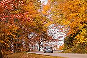 Colorful autumn foliage as leaves change colors along the Blue Ridge National Park near Asheville, North Carolina.