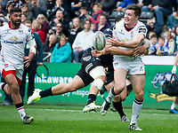 Rugby Union - 2016 / 2017 Guinness Pro12 - Ospreys vs. Ulster<br /> <br /> Jacob Stockdale of Ulsterpasses the ball inside, at Liberty Stadium.<br /> <br /> COLORSPORT/WINSTON BYNORTH