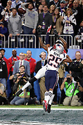 Philadelphia Eagles wide receiver Alshon Jeffery (17) leaps in the air while trying to catch an end zone pass broken up by New England Patriots cornerback Eric Rowe (25) during the 2018 NFL Super Bowl LII football game against the New England Patriots on Sunday, Feb. 4, 2018 in Minneapolis. The Eagles won the game 41-33. (©Paul Anthony Spinelli)