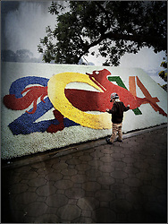 Little boy stands beside a large celebratory new year sign made of flowers, Hanoi, Vietnam, Southeast Asia