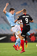 SYDNEY, AUSTRALIA - MARCH 30: Western Sydney Wanderers forward Oriol Riera (9) and Melbourne City defender Curtis Good (22) go for the ball at round 23 of the Hyundai A-League Soccer between Western Sydney Wanderers FC and Melbourne City FC on March 30, 2019 at ANZ Stadium in Sydney, Australia. (Photo by Speed Media/Icon Sportswire)