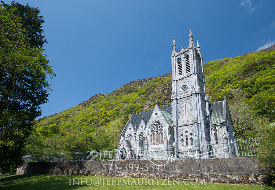 Kylemore Gothic church in Connemara, County Galway, Ireland.