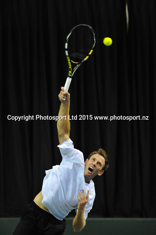 Michael Venus of New Zealand during the Davis Cup Tennis match, New Zealand v India, at The Z Energy Wilding Park Tennis Centre, Christchurch, New Zealand on the 17 July 2015. Copyright Photo: John Davidson / www.photosport.nz