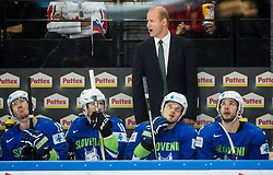 Nik Zupancic, head coach of Slovenia with players Ken Ograjensek of Slovenia, Ales Music of Slovenia, Anze Kuralt of Slovenia and Bostjan Golicic of Slovenia during the 2017 IIHF Men's World Championship group B Ice hockey match between National Teams of Slovenia and Belarus, on May 13, 2017 in AccorHotels Arena in Paris, France. Photo by Vid Ponikvar / Sportida