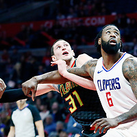 08 January 2018: Atlanta Hawks forward Mike Muscala (31) vies for the rebound with LA Clippers center DeAndre Jordan (6) and LA Clippers guard C.J. Williams (9) during the LA Clippers 108-107 victory over the Atlanta Hawks, at the Staples Center, Los Angeles, California, USA.