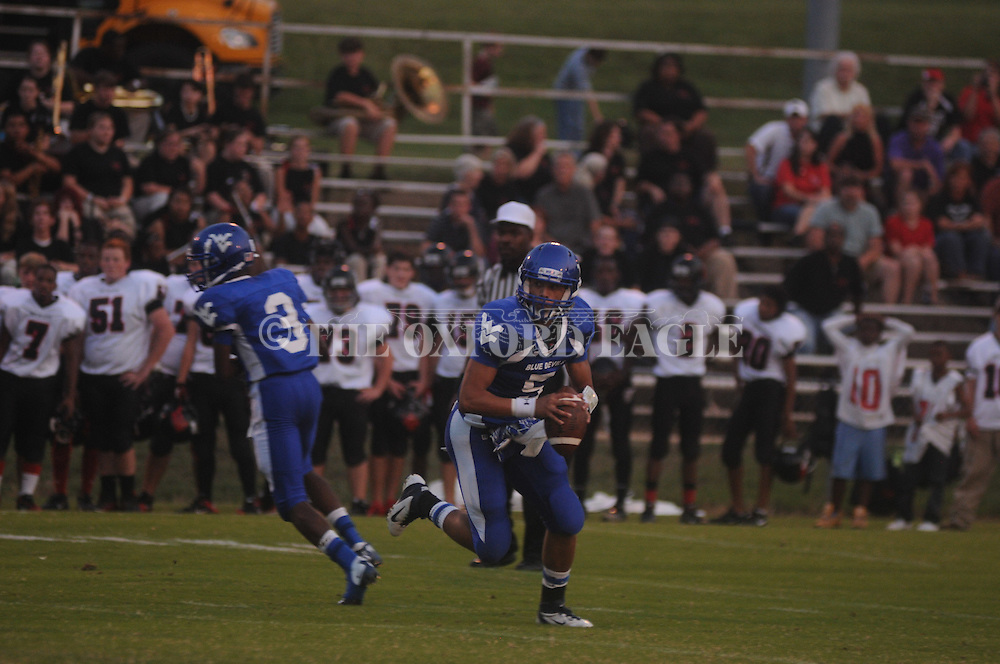 Water Valley's E.J. Bounds (5) vs. Independence in Water Valley, Miss. on Friday, August 17, 2012. Water Valley won 41-0.