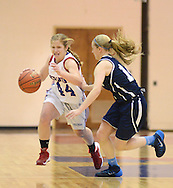 LANGHORNE, PA -  JANUARY 10:  Neshaminy's Megan Schafer #44 dribbles up court as Council Rock North's Madison Attanasio defends during a basketball game at Neshaminy high school January 10, 2014 in Langhorne, Pennsylvania. (Photo by William Thomas Cain/Cain Images)