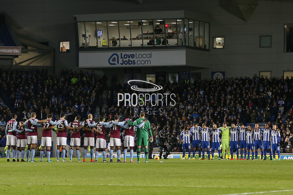 Remeberance minutes silence during the EFL Sky Bet Championship match between Brighton and Hove Albion and Aston Villa at the American Express Community Stadium, Brighton and Hove, England on 18 November 2016. Photo by Phil Duncan.