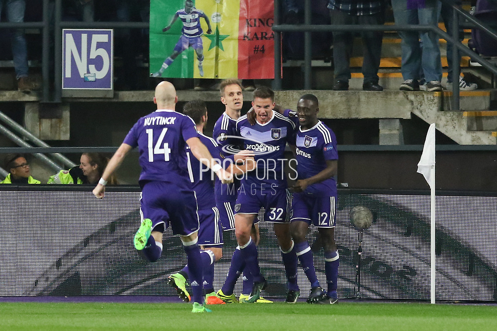 Anderlecht Midfielder Leander Dendoncker celebrates his goal 1-1 during the UEFA Europa League Quarter-final, Game 1 match between Anderlecht and Manchester United at Constant Vanden Stock Stadium, Anderlecht, Belgium on 13 April 2017. Photo by Phil Duncan.