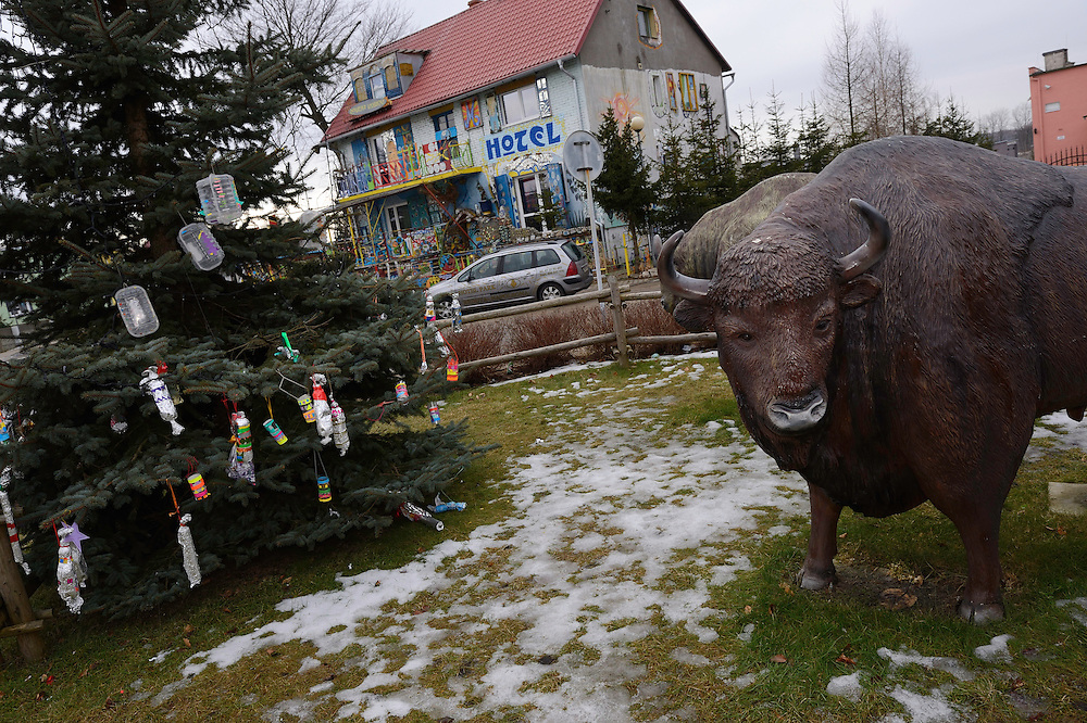 Local pride - Fibre-glass statues of European bison, Bison bonasus, in a village in the Drawsko area, Western Pomerania, Poland