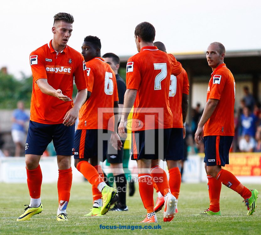 Alex Wall of Luton Town (left) celebrates scoring his hatrick to make it 0-4 during the Pre Season Friendly match at Top Field, Hitchin<br /> Picture by David Horn/Focus Images Ltd +44 7545 970036<br /> 17/07/2014