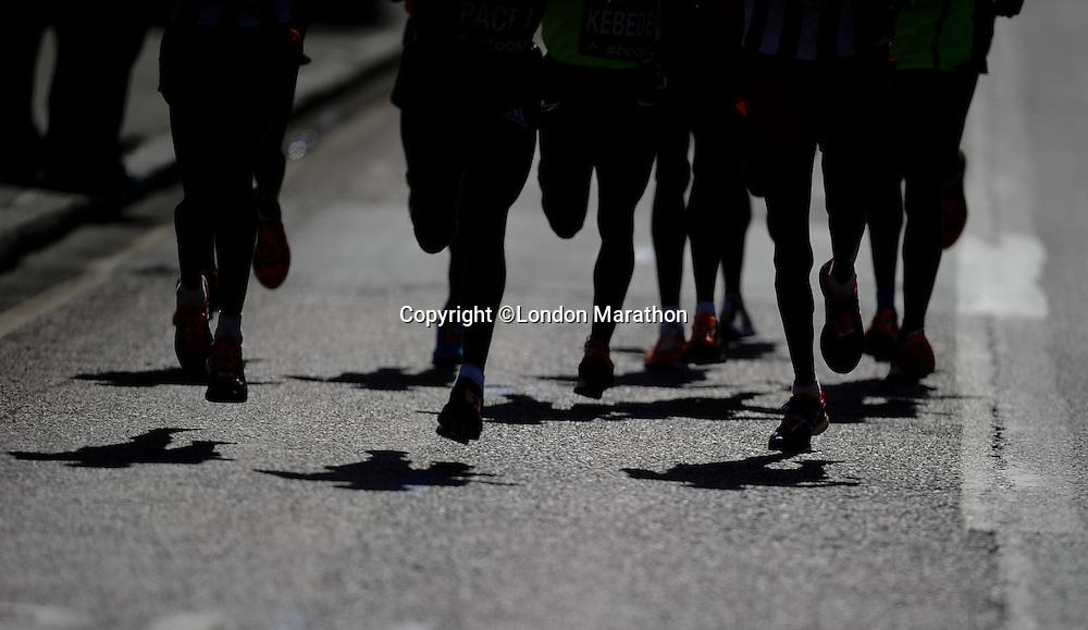 Elite Mens Race Silhouette<br /> The Virgin Money London Marathon 2014<br /> 13 April 2014<br /> Photo: Javier Garcia/Virgin Money London Marathon<br /> media@london-marathon.co.uk