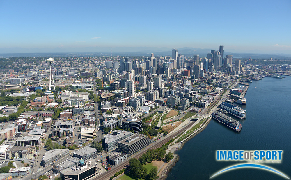 Aug 6, 2013; Seattle, WA, USA; Aerial view of the Space Needle and the downtown Seattle skyline.