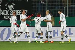04.12.2013, SGL Arena, Augsburg, GER, DFB Pokal, FC Augsburg vs Bayern München, Achtelfinale, im Bild Torjubel bei Mario Goetze (# 19, Bayern Muenchen), Mario Mandzukicv (# 9, Bayern Muenchen), Rafinha (# 13, Bayern Muenchen), Torschuetze Arjen Robben (# 10, Bayern Muenchen), Javier Martinez (# 8, Bayern Muenchen) v l // during German DFP Pokal round of last sixteen match between FC Augsburg and Bayern München at the SGL Arena in Augsburg, Germany on 2013/12/04. EXPA Pictures © 2013, PhotoCredit: EXPA/ Eibner-Pressefoto/ Fastl<br /> <br /> *****ATTENTION - OUT of GER*****