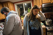 FLINT, MICHIGAN, USA - JANUARY 22: Melissa Mays reacts to water test results she said showed high levels of metals in the water samples Friday, January 22, 2016 at her home in Flint, Michigan. (Photo by Bryan Mitchell)