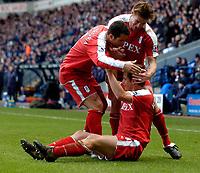 Photo: Jed Wee.<br /> Bolton Wanderers v Fulham. The Barclays Premiership. 26/02/2006.<br /> <br /> Fulham celebrate with goalscorer Heidar Helguson.