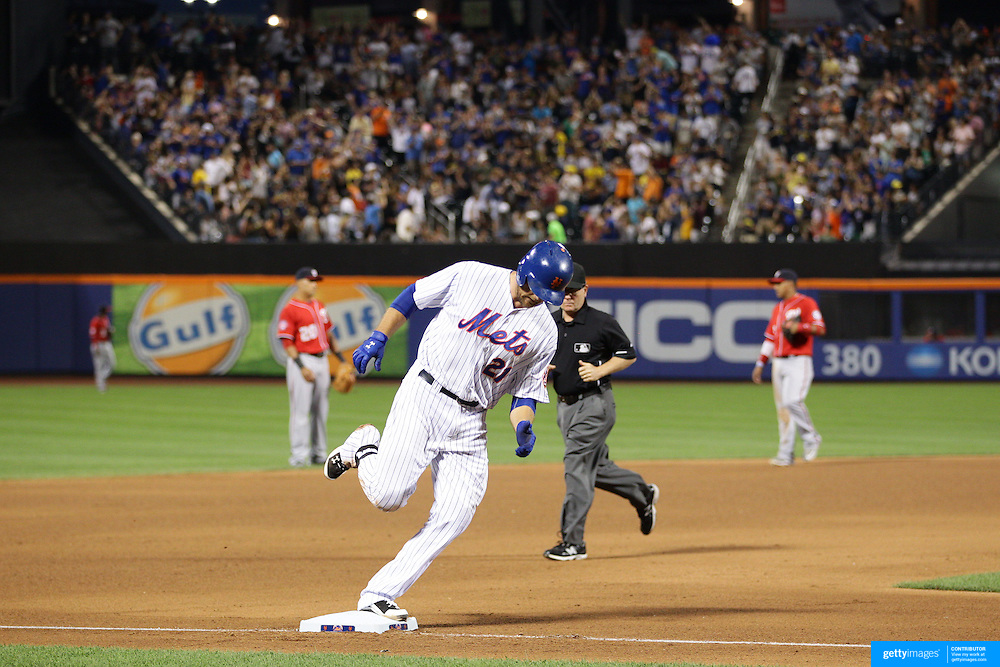 Lucas Duda, New York Mets, rounds the bases after hitting a solo home run in the 4th inning during the New York Mets Vs Washington Nationals. MLB regular season baseball game at Citi Field, Queens, New York. USA. 1st August 2015. Photo Tim Clayton