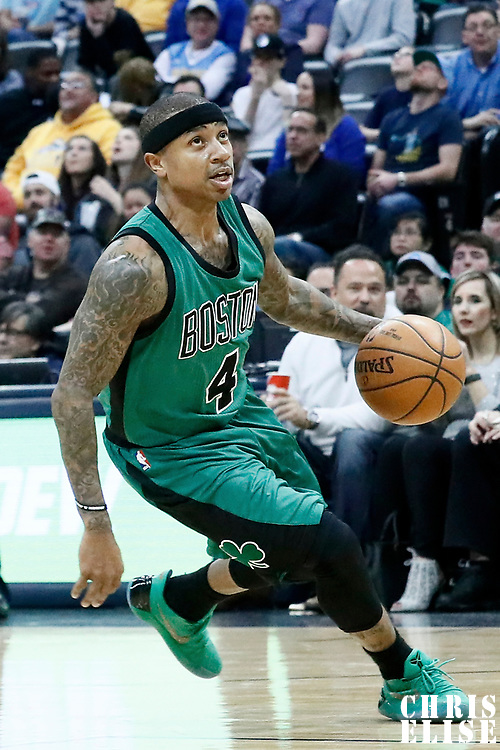 10 March 2017: Boston Celtics guard Isaiah Thomas (4) drives during the Denver Nuggets 119-99 victory over the Boston Celtics, at the Pepsi Center, Denver, Colorado, USA.