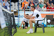 Picture by Ste Jones/Focus Images Ltd.  07706 592282.23/06/12.Barry Cowen (GBR) takes a rest during the +medicash Liverpool International 2012 tennis at Calderstones Park, Liverpool.