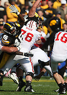 18 OCTOBER 2008: Iowa defensive end Christian Ballard (46) tries to block a field goal attempt in the first half of an NCAA college football game against Wisconsin, at Kinnick Stadium in Iowa City, Iowa on Saturday Oct. 18, 2008. Iowa won 38-16.