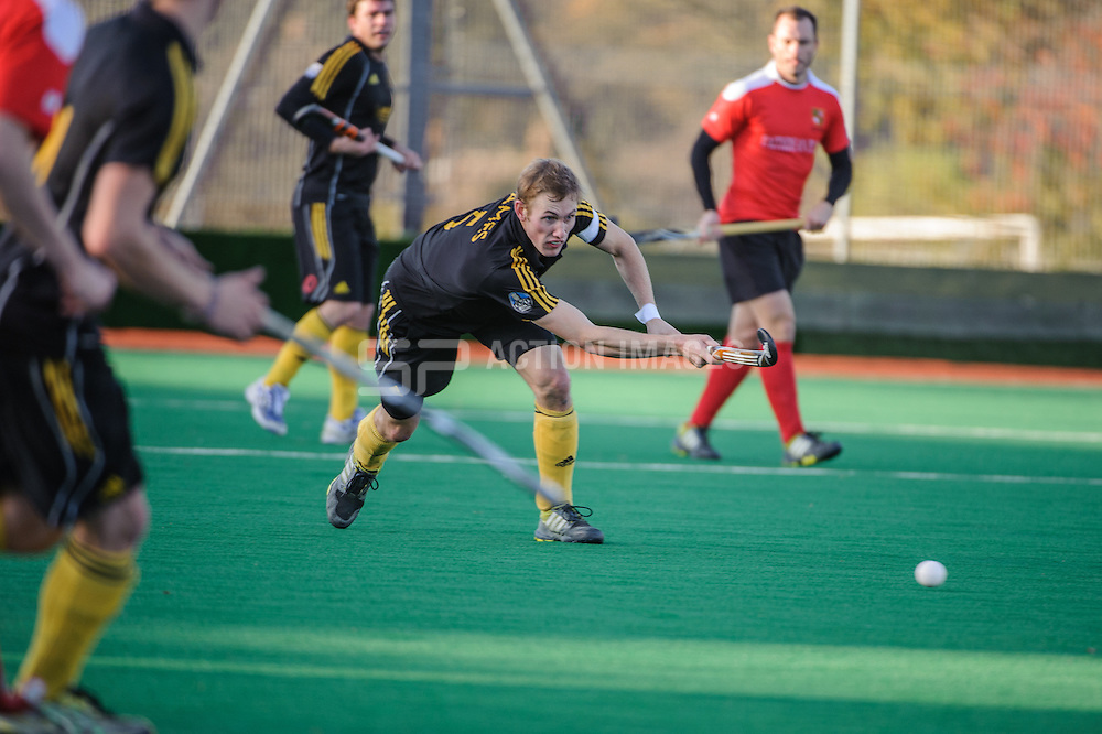 David Ames of Beeston during their match aganst Holcombe in the England Hockey Men's Cup