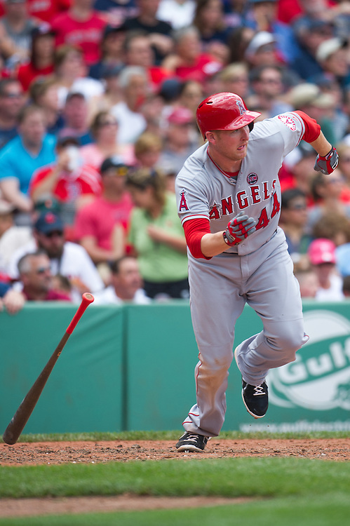 BOSTON, MA - JUNE 09: Mark Trumbo #44 of the Los Angeles Angels runs the bases during the game against the Boston Red Sox at Fenway Park in Boston, Massachusetts on June 9, 2013. (Photo by Rob Tringali) *** Local Caption *** Mark Trumbo