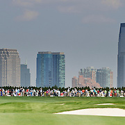 August 20, 2013:  A general view of golfers on the driving range with the New York City skyline in the background during The Barclays Fed Ex Championship at Liberty National Golf Course in Jersey City, NJ.  Kostas Lymperopoulos/csm  (Credit Image: © Kostas Lymperopoulos/Cal Sport Media)