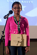 Victoria Valentina of Dominion Middle School introduces herself during the Columbus Metro Regional Spelling Bee Regional Saturday, March 16, 2013. The Regional Spelling Bee was sponsored by Ohio University's Scripps College of Communication and held in Margaret M. Walter Hall on OU's main campus.