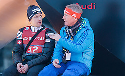 01.01.2016, Olympiaschanze, Garmisch Partenkirchen, GER, FIS Weltcup Ski Sprung, Vierschanzentournee, Bewerb, im Bild Simon Ammann (SUI) und FIS Renndirektor Walter Hofer // Simon Ammann of Switzerland with FIS race director Walter Hofer after his Competition Jump of Four Hills Tournament of FIS Ski Jumping World Cup at the Olympiaschanze, Garmisch Partenkirchen, Germany on 2016/01/01. EXPA Pictures © 2016, PhotoCredit: EXPA/ JFK