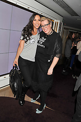 Left to right, MYLEENE KLASS and KATE HALFPENNY at the launch of 'She Died of Beauty' as part of London Fashion Week Autumn/Winter 2012 held at The Club at The Ivy Club, London on 17th February 2012.