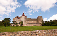 The external castle walls and towers of Chateauneuf-en-Auxois near Dijon, France.