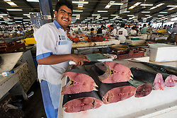 Tuna for sale on stall at Dubai fish market in Deira United Arab Emirates