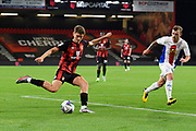 David Brooks (7) of AFC Bournemouth crosses the ball during the EFL Cup match between Bournemouth and Crystal Palace at the Vitality Stadium, Bournemouth, England on 15 September 2020.