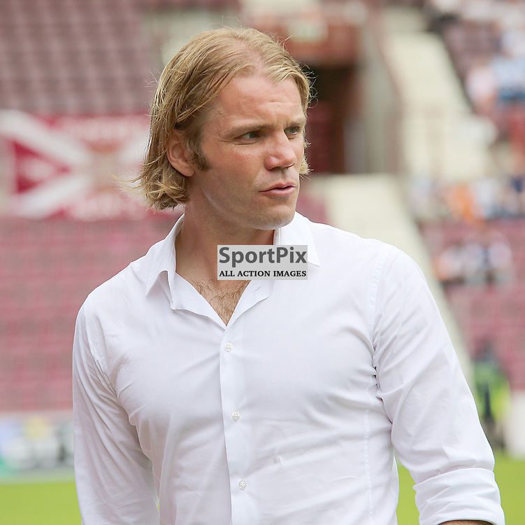 Hearts v Annan Athletic Petrofac Training Cup First Round 26 July 2014; Heart's manager Robbie Neilson looks concerned with Heart's attacking right back Callum Paterson injury during the Hearts v Annan Athletic Petrofac Training Cup tie played at Tynecastle Stadium, Edinburgh;