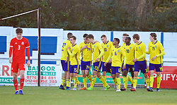 BANGOR, WALES - Saturday, November 17, 2018: Sweden players celebrate the opening goal scored by Sweden's Benjamin Mbunga Kimpioka during the UEFA Under-19 Championship 2019 Qualifying Group 4 match between Sweden and Wales at the Nantporth Stadium. Benjamin Tannus, Kevin Yakob, Pavle Vagic,Dejan Kulusekvski, Bilal Hussein, Gustaf Lagerbielke, Emil Holm. (Pic by Paul Greenwood/Propaganda)