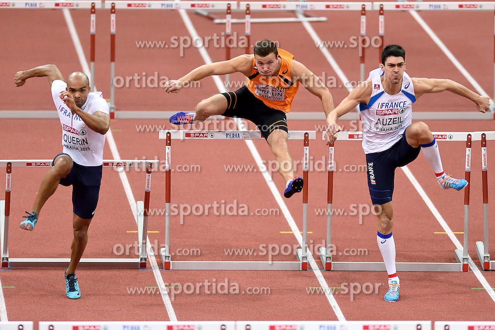 08-03-2015 CZE: European Athletics Indoor Championships, Prague<br /> Gael Querin FRA, Pieter Braun NED, Bastien Auzeil FRA
