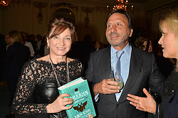 DORRIT MOUSSAIEFF and SIR ROCCO FORTE at a party to celebrate the publication of The Romanovs 1613-1918 by Simon Sebag-Montefiore held at The Mandarin Oriental, 66 Knightsbridge, London on 2nd February 2016.