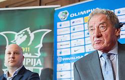 Marko Nikolic, new head coach of NK Olimpija Ljubljana and Milan Mandaric, president of NK Olimpija during press conference when presented Olimpija's new coach, on January 11, 2016 in Austria Trend Hotel, Ljubljana, Slovenia. Photo by Vid Ponikvar / Sportida