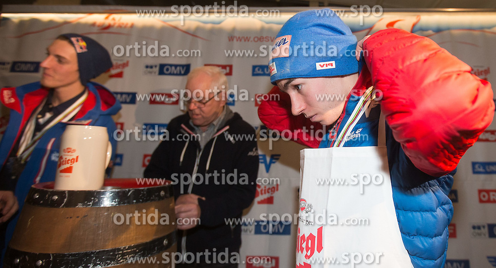28.02.2015, Österreich Haus, Falun, SWE, FIS Weltmeisterschaften Ski Nordisch, Medaillenfeier, im Bild Stefan Kraft (AUT) // during the Medal Party of the FIS Nordic Ski World Championships 2015 at the Ski Austria House, Falun, Sweden on 2015/02/28. EXPA Pictures © 2015, PhotoCredit: EXPA/ JFK