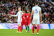 England forward, Wayne Rooney (10) appearing to ask a question with arms out during the Friendly International match between England and Portugal at Wembley Stadium, London, England on 2 June 2016. Photo by Matthew Redman.