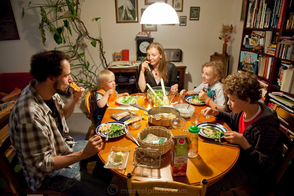 Hollmann Sturm family in Hamburg, Germany photographed for the Hungry Planet: What I Eat project with a week's worth of food. Model Released.