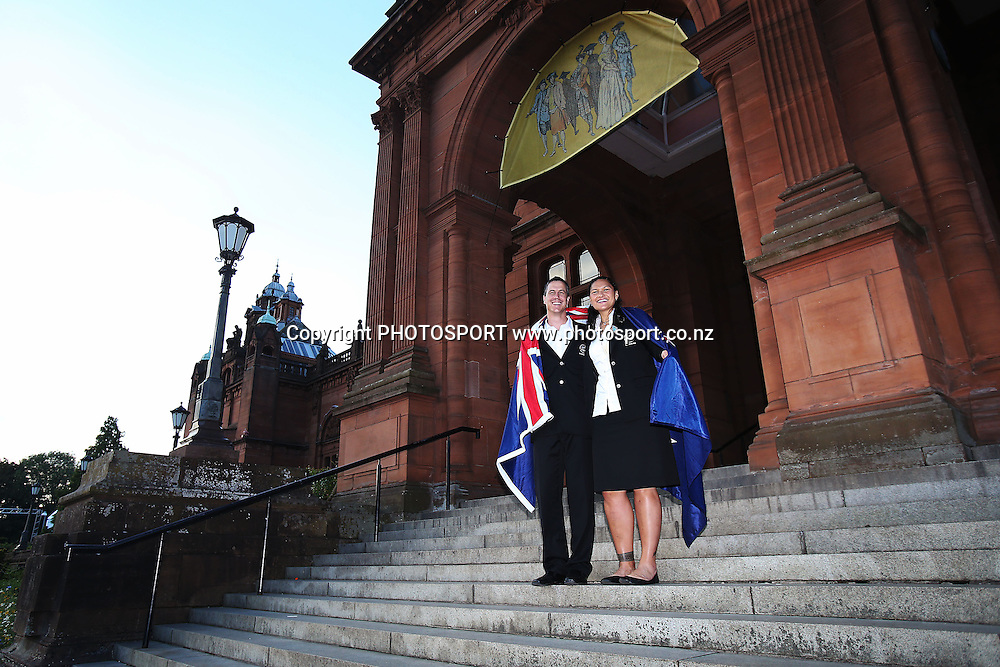 Chef de Mission Rob Waddell and Valerie Adams after she is named as the New Zealand Flag Bearer for the 2014 Glasgow Commonwealth Games. The Kelvingrove Art Gallery and Museum, Glasgow, Scotland. Tuesday 22nd July 2014. Photo: Anthony Au-Yeung / photosport.co.nz